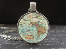 Vintage Map Necklace North South America Silver Christmas Gift for Boyfriend New