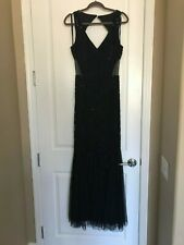 Formal Long Beaded Black Dress - Adrianna Papell - Size 12