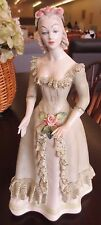 "Vintage Cordey Cybis 13.25"" Victorian Green Floral Lace Dress Woman Figurine"