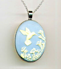 *SALE* ANTIQUE SILVER Ivory HUMMINGBIRD Bird Flower Blue Cameo Pendant Necklace