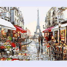 "20""*16"" DIY CANVAS PARIS STREET PAINT BY NUMBER ACRYLIC PAINTING KIT ROOM DECOR"