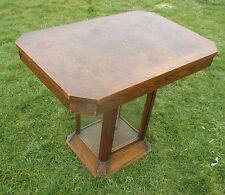 Antique Table Display cabinet In One Inlay Carved oak Beveled glass HTF WOW