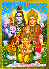 "Lord Shiva Family Golden Foil Hindu God Picture Religous 5"" X 7""(9944)"