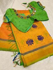 New Pattu/ Silk Saree with Maggam work Stitched blouse 36/38/40