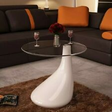 Coffee Table with Round Glass Top High Gloss White.