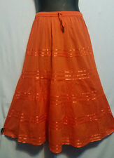 Women Clothing elastic waist Long Skirt with pull string cotton Orange Free Size