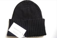 511d8274 GANT Rugger Black RIBBED 100% WOOL Cuff Beanie Toque Hat *MADE IN ITALY*