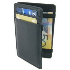 Genuine Full Grain Leather Magic Flip Wallet Money Card Holder Slimline
