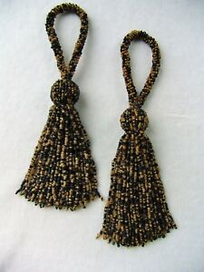 "SET OF TWO Black & Gold 7"" Glass Beaded Key Tassels"