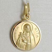 PENDANT MEDAL YELLOW GOLD 750 18K, SANTA RITA DA CASCIA, 15 MM, MADE IN ITALY