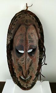 Antique Wooden Tribal Papua New Guinea Mask Board Carving With Natural Pigments