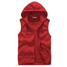 Men Casual Sleeveless Zip Up Hooded Sweatshirt Sport Hoodies Vest Coat Waistcoat