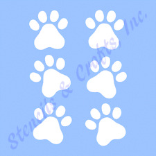 "MINI PAW PRINTS STENCIL PAWS STENCILS TEMPLATES CRAFT TEMPLATE NEW 4"" X 5"""