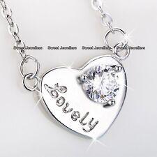 Weihnachten Geschenke für Sie 925 Sterlingsilber Kristall Herz Halskette Mutter