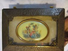 Victorian Brass Box Casket Embossed Floral w/ Oval Cameo Footed hinged Antique
