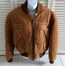 VALENTINO Couture Bomber Camel Quilted Leather Jacket VTG $3200 VG 46 Euro