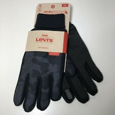 Sz L LEVIS Mens Stretch Active Fit Inteli-touch Gloves Knit Cuff Camouflage/Blue