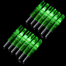 12x Archery Lighted Nock Hunting Arrow Nocks with LED Green Tail Fit 6.2mm Shaft