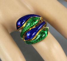 Macizo 18Ct Oro Con Azul Y Verde Esmalte Serpiente/Serpiente Anillo Grabado