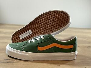 Vans SK8-Low Skateboarding Shoes Leather Green/Orange MN SZ 9 ( VN0A4UUK4WH )