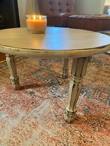 Small Wooden Hand Painted Distressed Coffee Table beige color