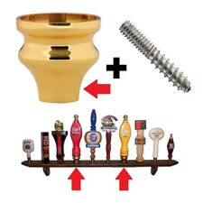 LARGE SIZE VIBRANT PVD GOLD BEER TAP HANDLE FERRULE COATED BRASS w/HANGER BOLT