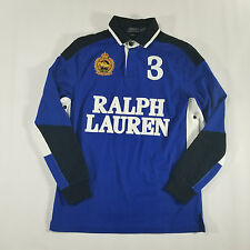 Polo Ralph Lauren Custom Fit Spell Out LS Rugby Shirt MEDIUM Snow Polo Challenge