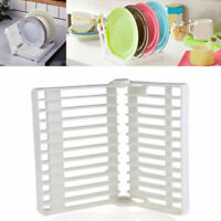 Foldable Kitchen Dish Plate Drying Rack Organizer Drainer Plastic CLLL Stor X5Z1