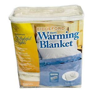 Biddeford Blankets Comfort Knit Fleece Heated Electric Blanket Queen Off-White