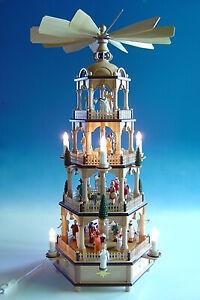 Große Weihnachtspyramide in Naturholz mit farbigen Figuren, elektr. Höhe ca 70 c