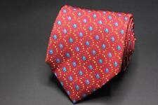 HOLLAND & SHERRY Silk Tie. Red with Blue Fish Print.