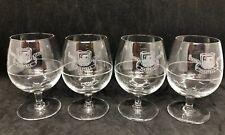 "MARTELL 1715 COGNAC BRANDY STEMMED GLASSES BALLOONS SET OF 4 Etched Logo 3.25"""