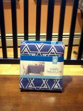 Nwt DECOR fabric tablecloth JEWISH HOLIDAY blue silver  60 x 84 oblong