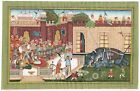 Mughal Miniature Painting Of Persian Style Artwork On Paper Elephant Fighting