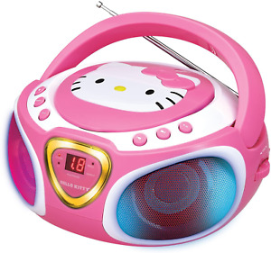 Hello Kitty Portable Stereo CD Boombox with AM/FM Radio, Speaker and LED Light S