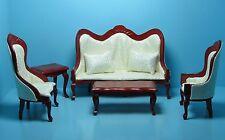 Dollhouse Miniature Victorian Living Room Sofa & Chairs Cream & Mahogany T0127