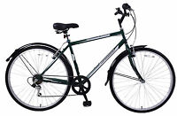 "COMMUTER 22"" FRAME MENS HYBRID BIKE 6 SPEED 700C WHEEL & MUDGUARDS RACING GREEN"