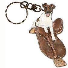 Fox Terrier Wooden Dog Breed Keychain Key Ring