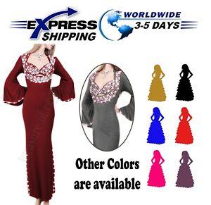❤ Oriental Handmade Sexy Beaded Saidi Costume Galabya Belly Dance Lingerie Abaya