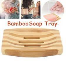 Bamboo Wood Bathroom Shower Soap Tray Dish Storage Holder Plate Basket d