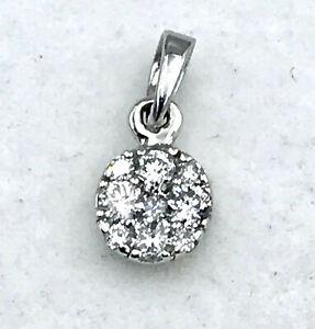 9K small Diamond Cluster Pendant_375 white gold_illusion set
