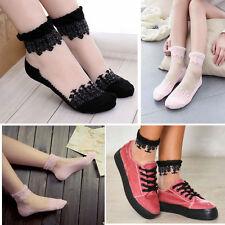 Pair of Sheer Mesh Soft Ankle Hi Socks Lolita Pin-Up Vintage Floral Top & Toes