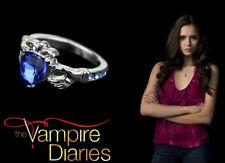 The Vampire Diaries Elena Gilbert Blue Sapphire Silver Plated Irish Wedding Ring