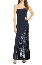Eliza J Crepe & Sequin Embellished Strapless Evening Dress (Size 16)