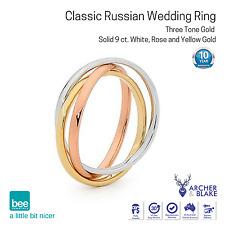 9K Carat Classic Russian Wedding Ring White Rose Yellow Gold Interlink New