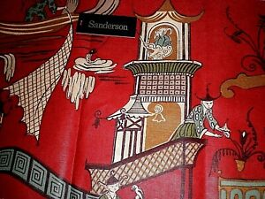 """SANDERSON FABRIC FOR CUSHIONS/LAMPSHADES """"PAGODA RIVER"""" 35 X 145 CM COTTON"""