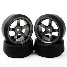 Drift Tires Wheel Rims 4Pcs Fit RC HSP HPI 1:10 On-Road Car 12mm hex  D5M+PP0370