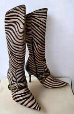 Karen Millen 'Tiger' Striped Leather Knee-High Boots Sz 41 Spain Sold Out! RARE!