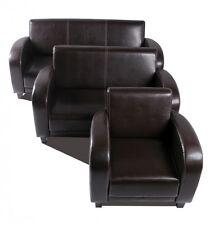 3-2-1 Sofagarnitur ANTO Sofa Couch 3-Sitzer 2-Sitzer 1er Kunstleder Antikbraun