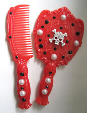 WHITE SKULL HAND MADE RED KITCH GOTHIC MIRROR AND COMB